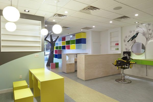 this lay out allows great site lines for parents  Receptionist is available to guest and staff