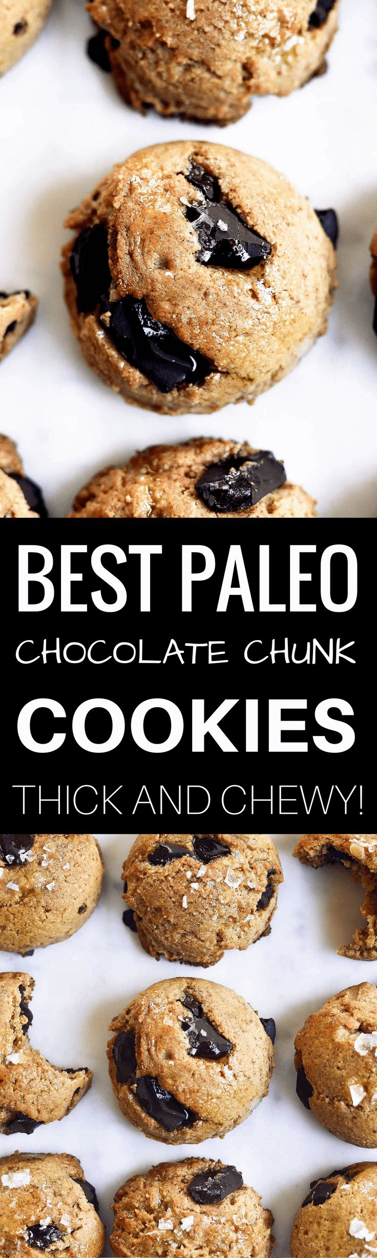 The most delicious paleo and vegan chocolate chunk cookies! Thick, of so soft, chewy, perfect texture. Ready for eating in only 15 minutes.
