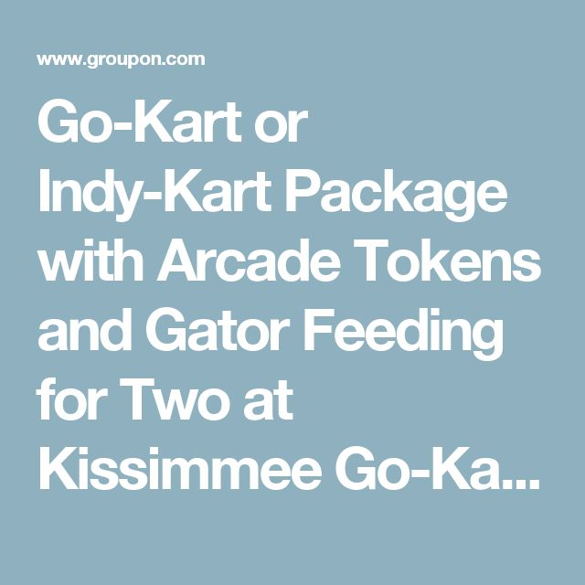 Go-Kart or Indy-Kart Package with Arcade Tokens and Gator Feeding for Two at Kissimmee Go-Karts (Up to 58% Off)