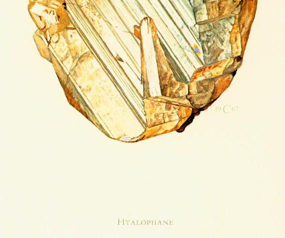 Geological Wall Art. Antique Mineralogy Print. Mineral wall art. Vintage geology art. Gift idea for geologist student. Gemstones illustrations.  Published in Paris. 45 year... #orthoclase #potassium #feldspar #moonstone #hyalophane