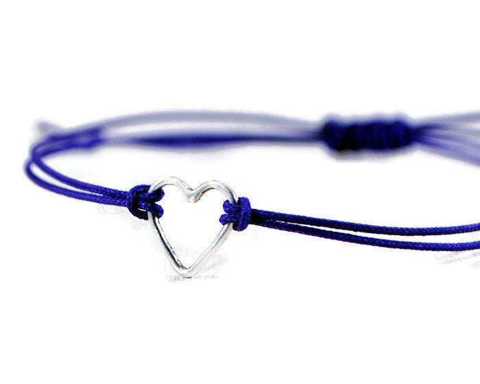 Tiny Open Heart Bracelet. Women's Sterling Silver Open Heart Bracelet. Silver Charm Red Cord Minimalist Bracelet. GSminimal Jewelry
