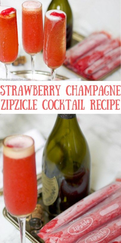 Perfect Champagne Cocktail recipe for bridal & baby showers. This Strawberry Champagne Zipzicle Cocktail recipe is balanced, fresh and fizzy.