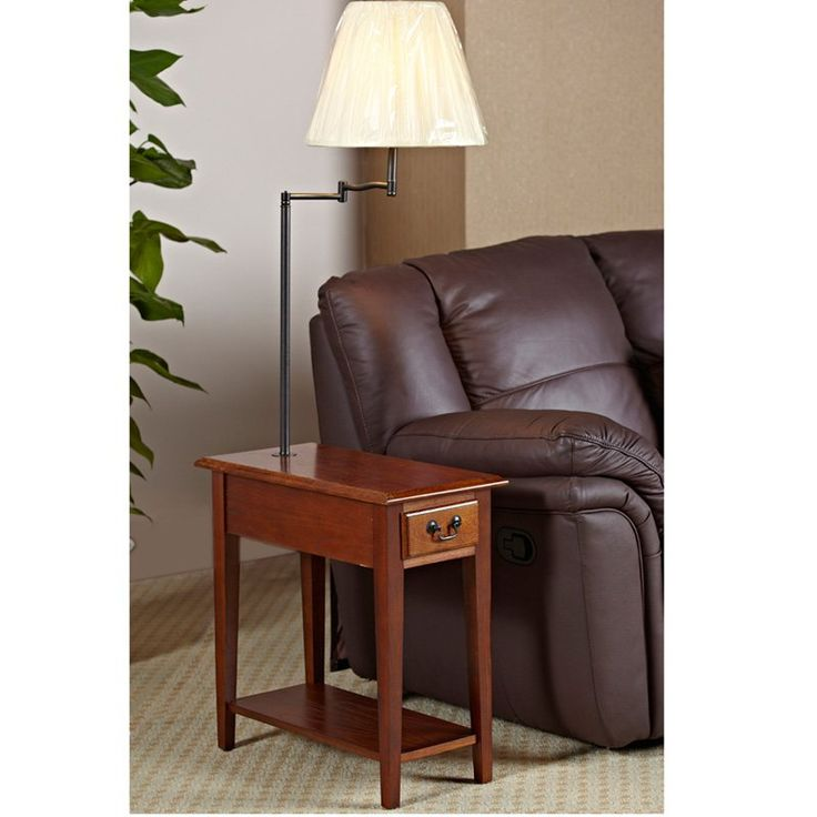 Chairside Oak End Table with Swing Arm Lamp   from hayneedle.com
