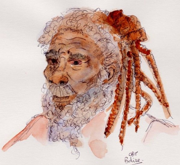 ...Quick water-colour sketch of a man in Belize City, Central America.