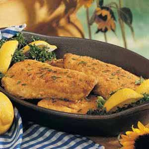 Pan-Fried Trout Recipe with Parmesan √ tried something similar. I didnt have crackers so I used crushed croutons, buttermilk & made other slight adjustments.
