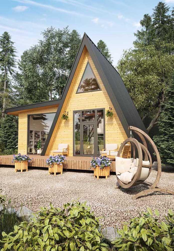 Casa Planejada Estilo Chale Ideal Para Locais Serranos Em Volta Da Natureza A Frame House Tiny House Cabin Tiny House Design