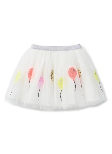 100% Polyester Tutu. Tulle tutu with elasticated lurex waistband. Outer layer sequinned in balloon motifs. Fully lined in 100% Cotton. Available in Canvas