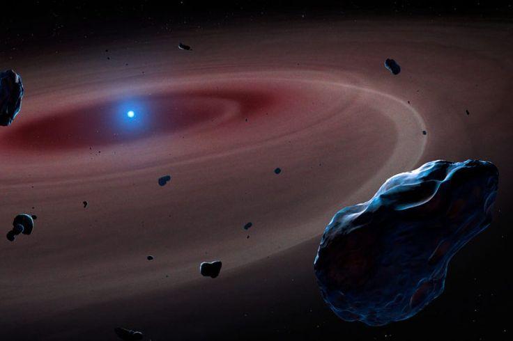 Impressão artística de um sistema planetário destruído por sua estrela. O material rochoso se movendo cai na superfície da anã branca, revelando que o explaneta é rico em calcário