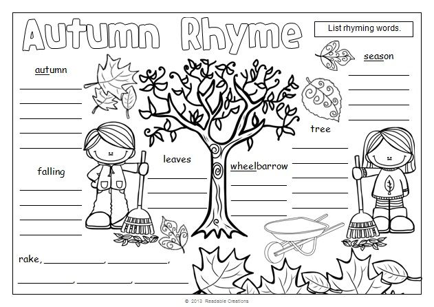Good rhymers make good readers! A variety of themed pages are included.