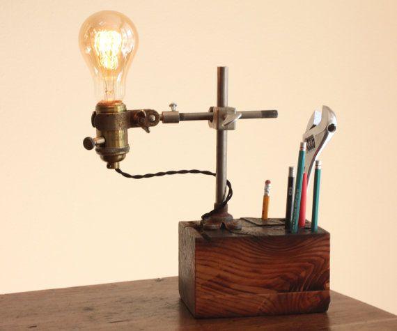 Reclaimed wood desk organizer lamp industrial desk accessory, rustic steampunk light pencil holder pen desk caddy, Edison bulb with dimmer