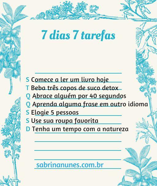 SETE DIAS SETE TAREFAS | Blog Sabrina Nunes
