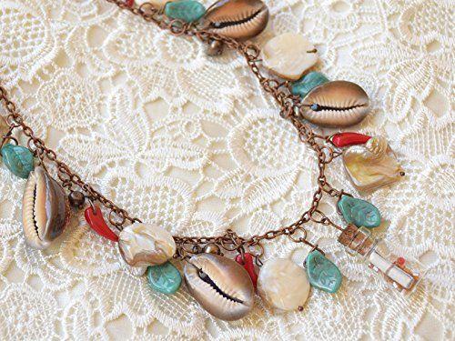 Seashell necklace Glass Bottle necklace Nautical jewelry Mermaid jewelry beach wedding message in a bottle Pearl necklace Sea shell jewelry Beach necklace Mother pearl jewelry Copper jewelry