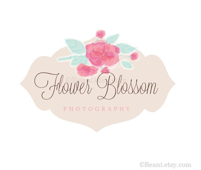 Custom Premade Logo Vintage Frame Label Flourish Swirl Shabby Chic Roses Flower Cherry Le Blossom By Reanidesigns On