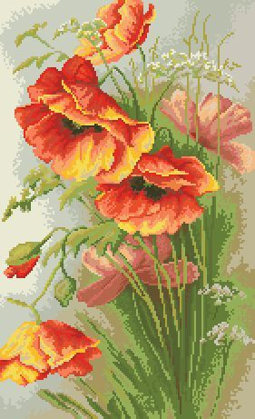 `red yellow poppies x stitch