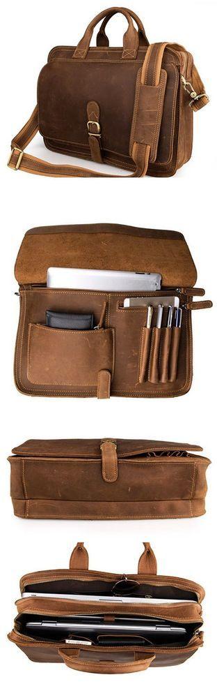 Handcrafted Antique Style Top Grain Leather Mens Briefcase Messenger Bag Laptop Bag