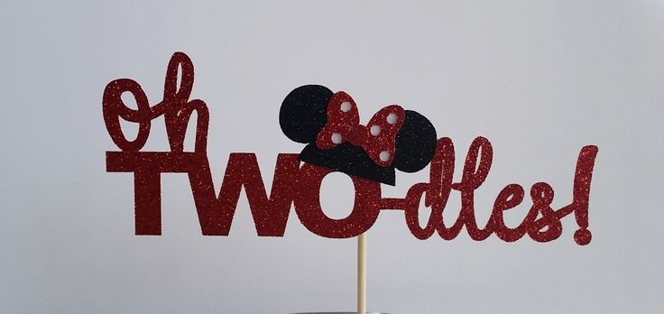 oh twodles cake topper/minnie mouse cake topper/birthday party by PaperMyLife on Etsy