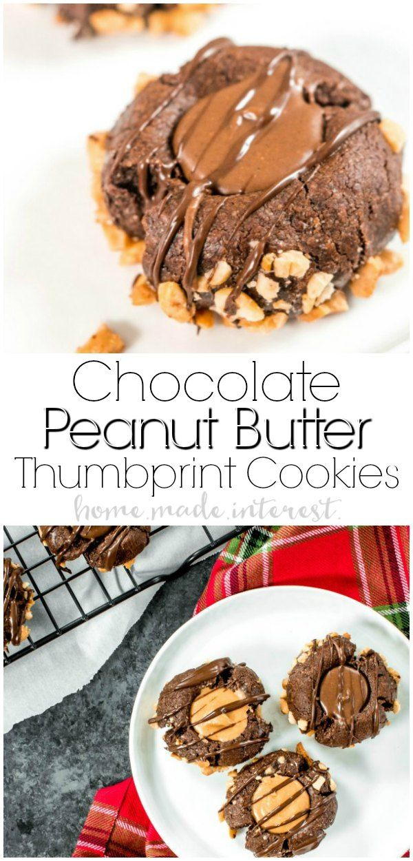 Chocolate Peanut Butter Thumbprint Cookies | A sweet chocolate thumbprint cookie filled with creamy flavored peanut butter. These Chocolate Peanut Butter Thumbprint Cookies is my favorite easy Christmas cookie recipe! AD #christmas #christmascookies #cookies #desserts