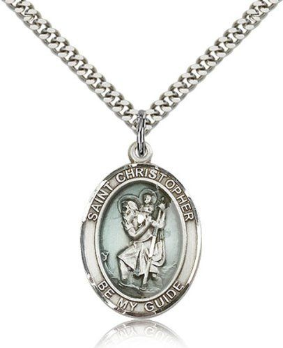 Saint Christopher Medals - Sterling Silver St. Christopher Pendant Including 24 Inch Necklace