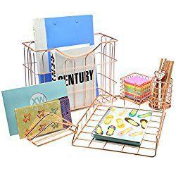 Superbpag Wire Metal 5 in 1 Desk Organizer Set - Letter Sorter, Pencil Holder, Stick Note Holder, Hanging File Organizer and Letter Tray