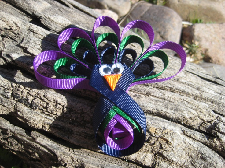 Ribbon Sculpture  Peacock Hair Bow   Blue by OhSoPrettyByAsia, $4.95
