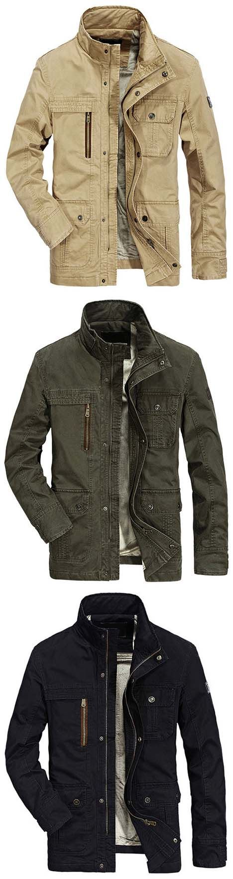 Mens Jacket:AFSJEEP Military Pure Cotton Mutil Pocket Velvet Coat Jacket for Men