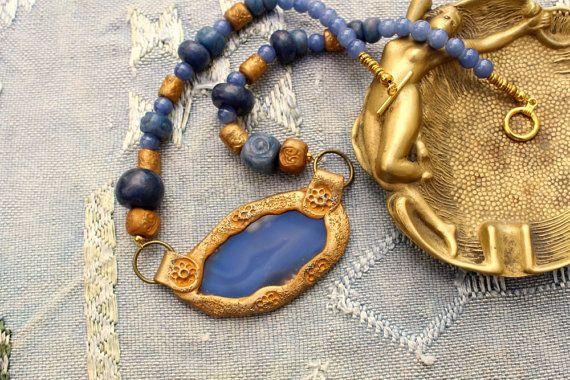 Collier Byzantin bleu-gris et or. Collection   par MesOdalisques