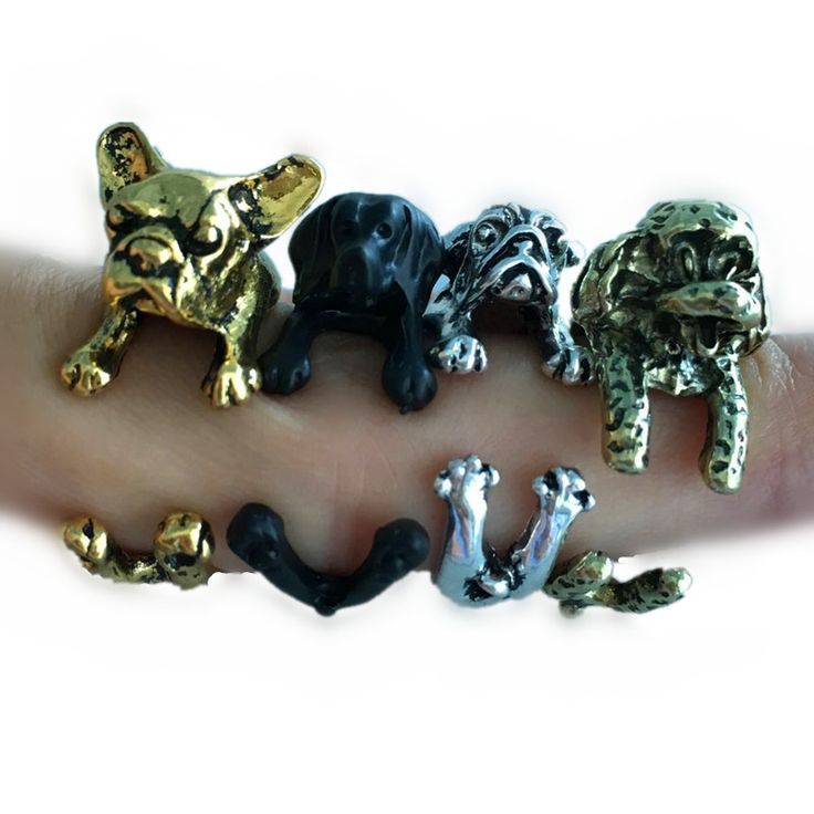 Pameng 5 Style Cute French Bulldog Puppy Labrador Shar Pei Dog Opening Wrap Rings In Silver Color Black  Bronze