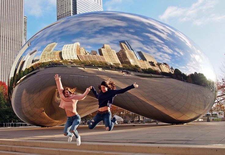 """""""Bean there done that"""" Your standard Chicago bean pun of courseLove this city @isepstudyabroad  We woke up at 6 am so we could get to Cloud Gate (The Bean) before all the tourists arrived and took advantage of the fact that we had it aaall to ourselves to take pictures with the sunrise. It was freezing cold but we forgot our coats in the hurry. It was all worth it!. #photocontest #travel #Chicago #bean #mychicagopix #ChicagoEpic by thestudentnomad"""