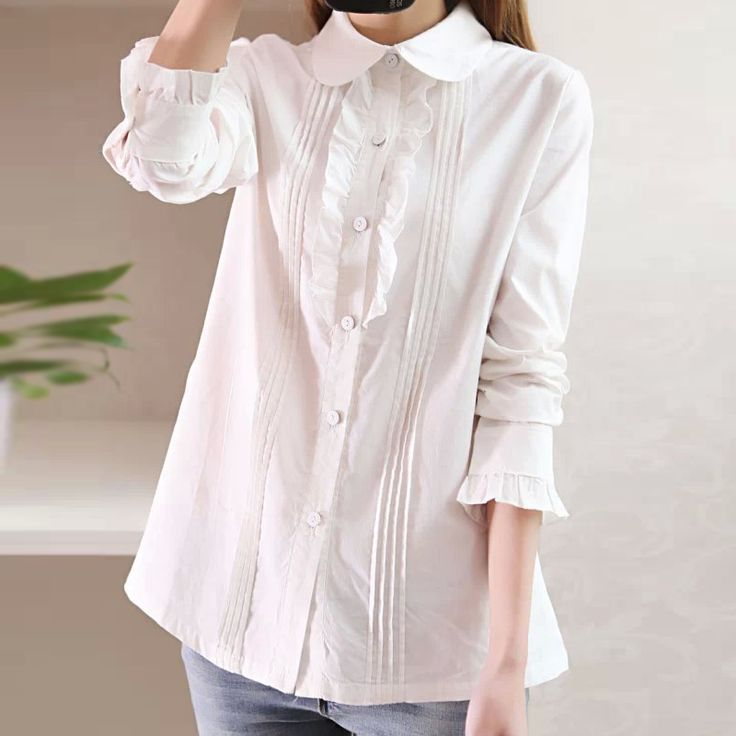 Cheap Blouses & Shirts on Sale at Bargain Price, Buy Quality shirt female, long-sleeved shirt, female shirts from China shirt female Suppliers at Aliexpress.com:1,Collar:Peter pan Collar 2,Clothing Length:Regular 3,Style:Casual 4,Sleeve Style:Regular 5,Pattern Type:Solid