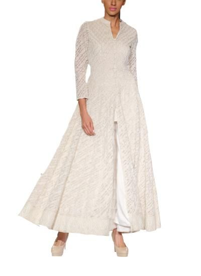 Refined White Flaring Gown by Anita Dongre | Indian Designers | Indian Clothes | Gowns
