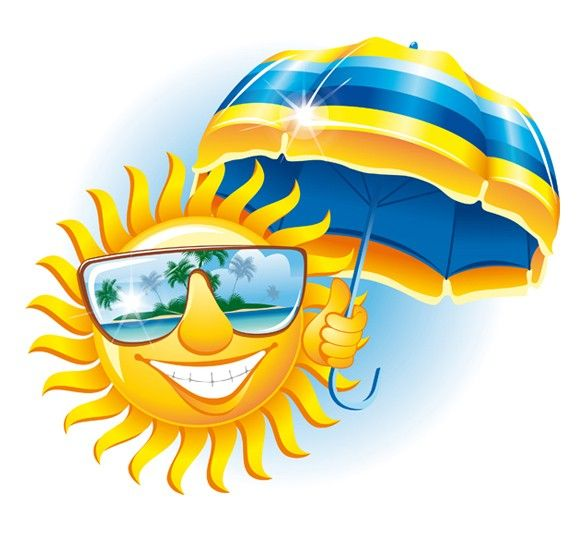XOO Plate :: Smiling Sun Tropical Cartoon Vector Illustration - Happy sun with sunglasses and umbrella cartoon tropical vector illustration - Ai and Eps.