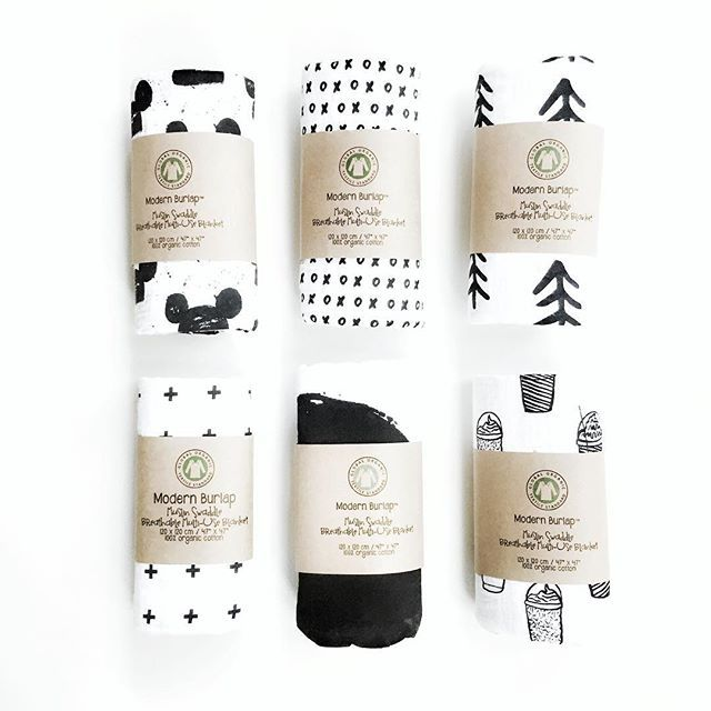 Modern Burlap organic muslin swaddle blankets in all the best patterns in the world! LOVE the monochromatic, black and white patterns for the modern baby and family!