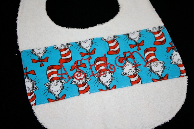Dr. Seuss Bib - Cat In the Hat - Customized and Reversible  Great for a Dr. Seuss birthday party!  $15.00, via Etsy.    www.hankorange.com