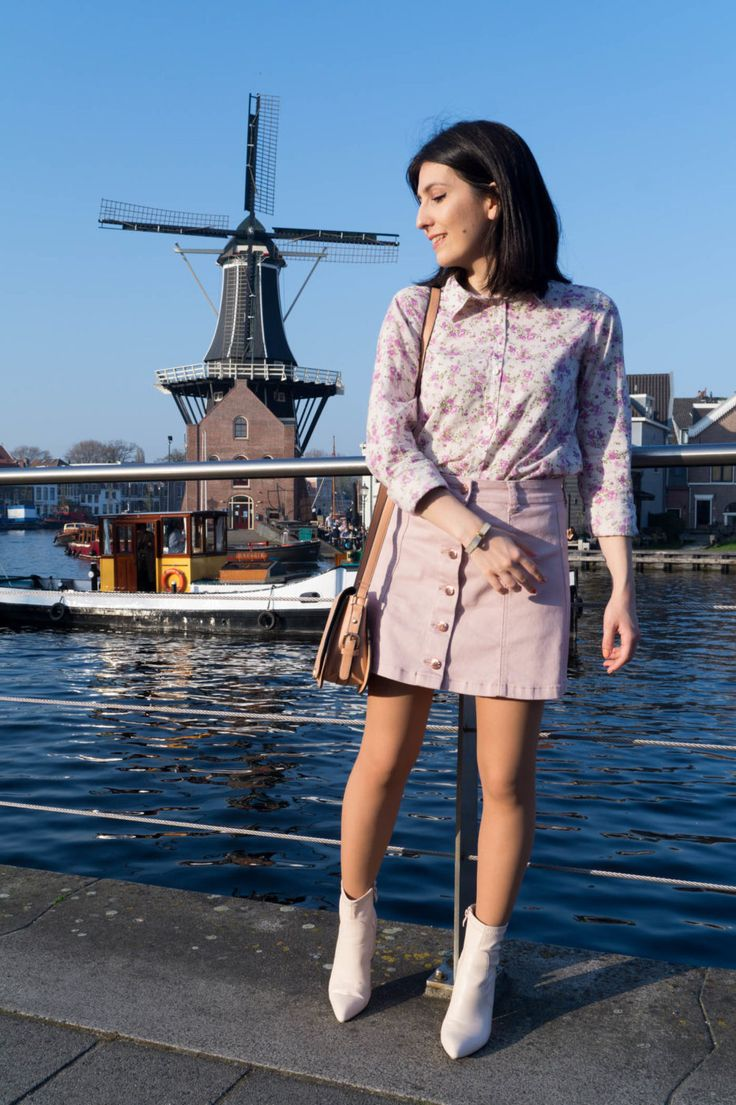 Nude ankle boots, pink button front skirt, floral shirt