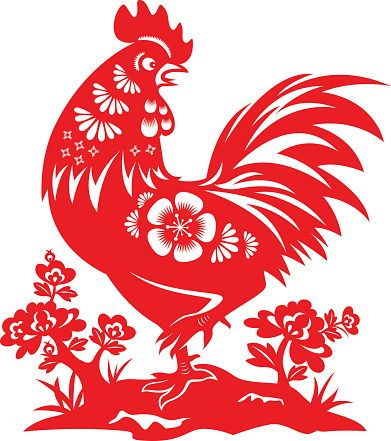 Year of the Rooster Papercut 벡터 아트 일러스트
