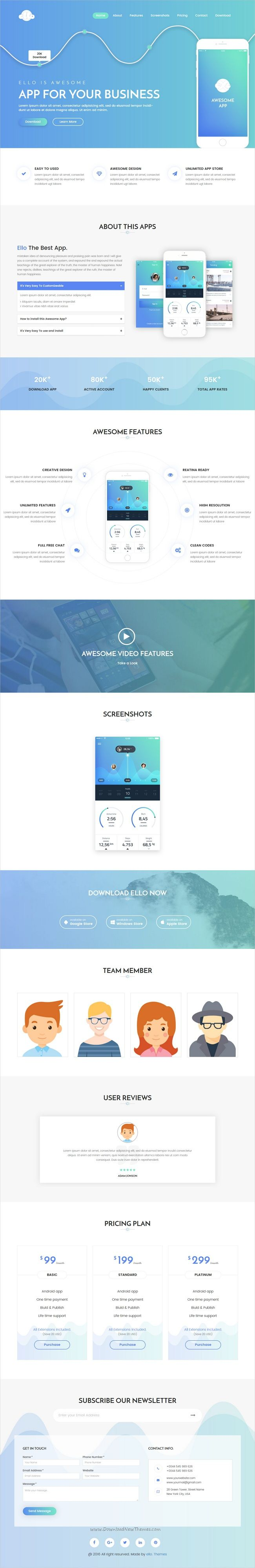 ello is a modern unique and clean design responsive html5 bootstrap template for amazing