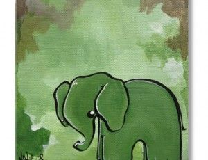 Ellie the Elusive Elephant 6x6 Original Painting. Perfect for baby's room!