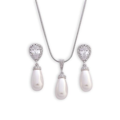 Pear Bridal and Bridesmaid Jewellery Set for Weddings