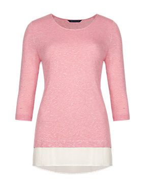 Rose 3/4 Sleeve Double Layered Top