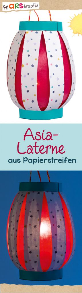 Tolle Asia-Laterne aus Papierstreifen zum #basteln #StMartin #arskreativ