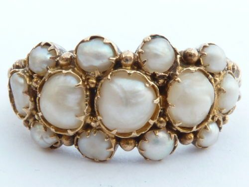 I am really into Georgian period jewelry right now. Gold was scarce and good pearls were rare and natural. Someone of some kind of wealth in the early 1800's had this ring.