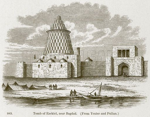 Tomb of Ezekiel, near Bagdad. Illustration from A History of Architecture by James Fergusson    Since Babylonian captivity, Jews have had been integral part of life of peoples of Mesopotamia. . until 1951 when Israeli agents planted bombs in Baghdad in order frighten this community into fleeing to Israel.  Tragic!