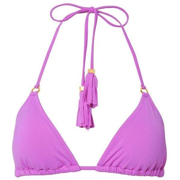 Lazul Women's Nubia Tassel Tie Triangle Bikini Top (2,475 MXN) ❤ liked on Polyvore featuring swimwear, bikinis, bikini tops, purple, triangle swimwear, triangle swimsuit top, purple bikini, tassle bikini and tie-dye swimwear