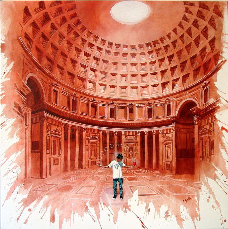 """""""El Mago"""" . acrílico sobre lienzo . 120x120cm . (2011) de Claudio Gallina, pintor argentino"""