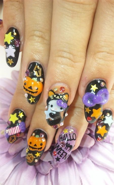Halloween 3d Nail Art Designs, Ideas, Trends & Stickers 2014