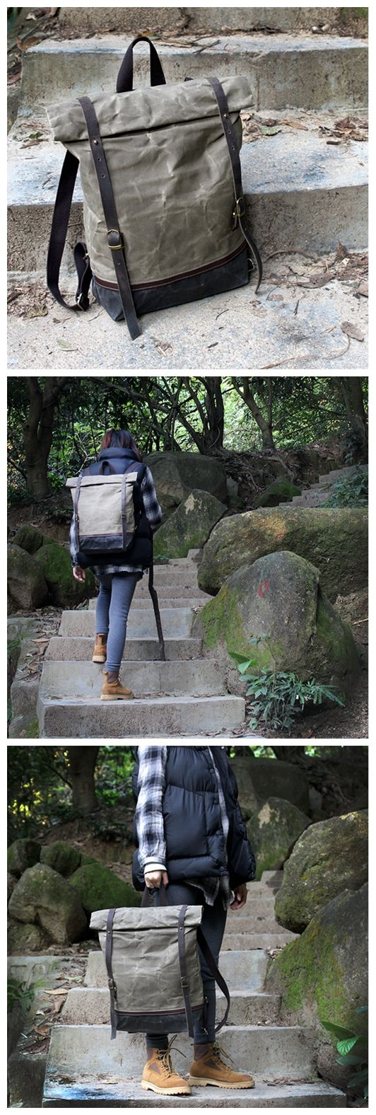 Handcrafted Waxed Canvas Travel Backpack Hiking Waterproof Rucksack School Backpack Large Backpack Laptop Bag 14116 -------------------------------- - Waxed waterproof canvas - Cotton lining - Inside