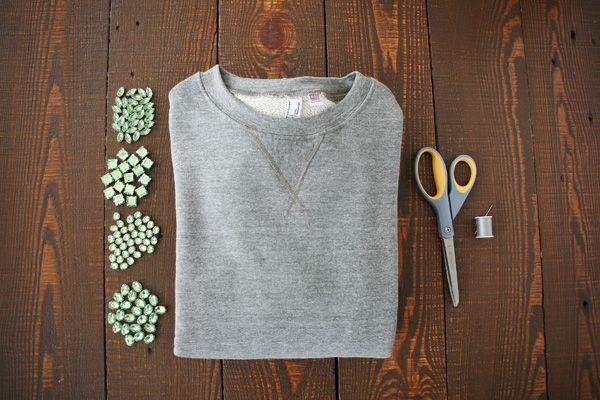 Bold Shoulders: DIY A Bejeweled Sweatshirt