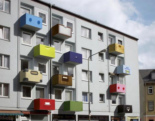 IKEA organization to the extreme?Storage Spaces, Storage Boxes, Balconies, Advertis, Buildings, Guerrilla Marketing, Architecture, Storage Ideas, Ikea