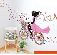 Fairies Girl Butterfly Flowers Art Decal - Home Decor – marketplacefinds