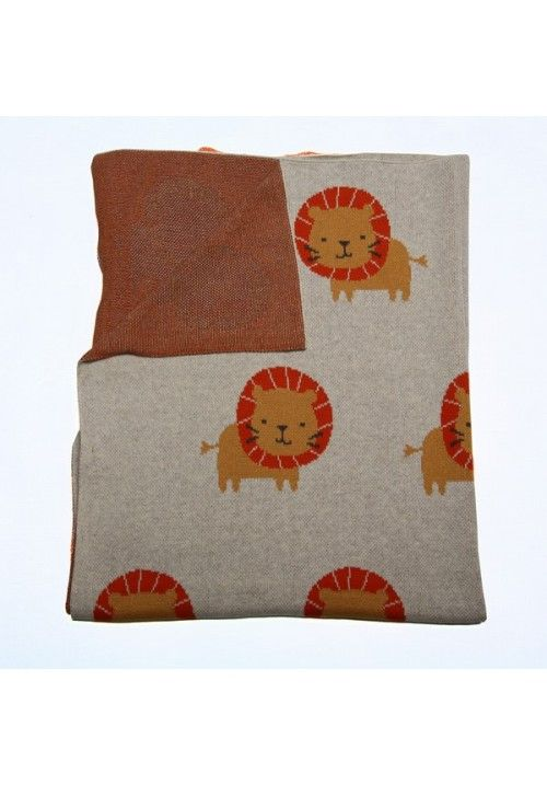 Warm knitted blankets available in a orange & cream lion design. #littlelumps #baby #southafrica